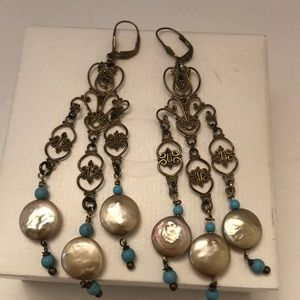 Vintage antique pearls turquoise beads chandelier
